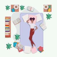 ung kvinna kopplar av i madrassen i sovrummet vektor