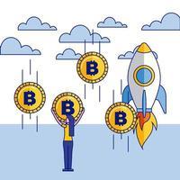 Fintech-Bild mit Rakete und Bitcoin vektor