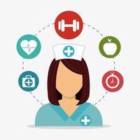 Hälsosam livsstil ikonuppsättning med sjuksköterska vektor