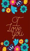 Jag älskar dig blommig kort vektor