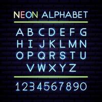 Neon Alphabet und Zahlen vektor