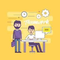 Teamwork-Geschäftsleute mit Computer- und Dokumenteninformationen