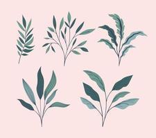 gröna blad naturliga uppsättning ikoner