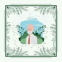 gammal man kort med växtbaserade ram vektor
