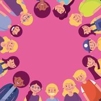 Grupp av olika ungdomar som skapar cirkelram