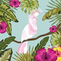Kakadu mit Blüten und Blättern Pflanzen Hintergrund