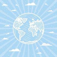 Planet über gestreiftem Hintergrunddesign