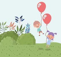 glada små barn med ballonger helium i fältet vektor