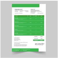 Grünes minimales Geschäftsrechnungsschablonen-Vektordesign
