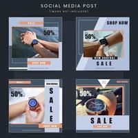 Uppsättning av mode försäljning erbjudande social post fyrkant vektor