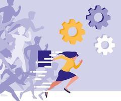 Geschäftsfrau im Rennenavataracharakter vektor
