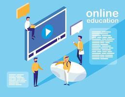 onlineutbildning med mediaspelares display och minipersoner vektor