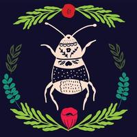 folkkonst bugg med blommig element prydnad skandinavisk stil