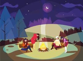 människor i campingzon med lägereld på natten vektor
