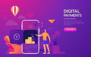Webseite für digitale Zahlungen mit Farbverlauf