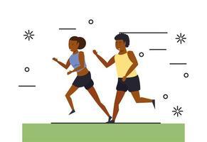 Afrikansk amerikanpar kör vektor