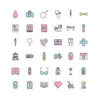 Reihe von Medizin Wissenschaft Thema Icons