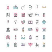 uppsättning medicinska vetenskap teman ikoner vektor