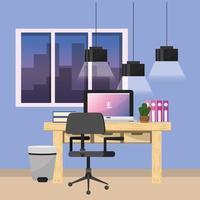 Arbeitsplatz- und Bürogestaltung vektor