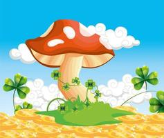 Pilz mit Kleepflanzen und Goldmünzen