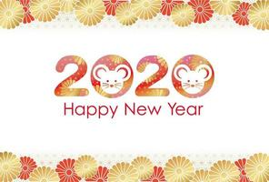 2020 neue Jahre Grußkartenvorlage vektor