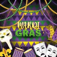 Masken mit Karnevalsemblem und Trommel zum Ereignis
