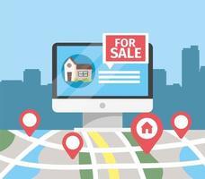 dator med husförsäljning och kartort vektor