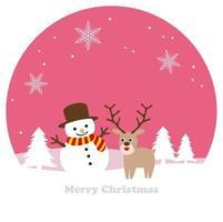 Seamless vinterlandskap med renen och en snögubbe
