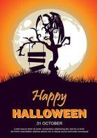 Halloween-festaffisch med måne, träd och trasiga tecken