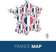 Frankreich-Karte mit fahnenförmigen Kreisen gefüllt vektor