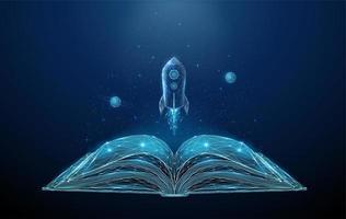 Offenes Buch und fliegende Rakete mit Sternen und Planeten.