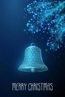 Glocke der frohen Weihnachten, die am Tannenbaumast hängt. Low-Poly-Style-Design.