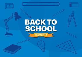 Ausrüstungslinie Elemente für Schule mit einem blauen Hintergrund