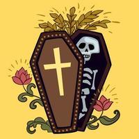 Sarg mit Skelett und Rosen