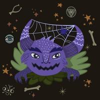 monster med spindelnät i horn vektor