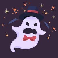 spöke i hatt med skrämmande ansikte vektor