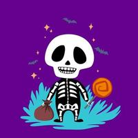 Skelett mit Süßigkeiten vektor