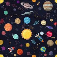 mönster med planeter och rymdskepp vektor