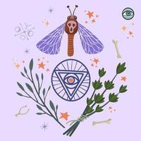 Ritualgegenstände mit Pentagramm und Kräutern.