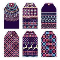 Sammlung von Preisschildern mit Pullover Ornament