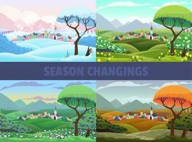 Vier Jahreszeiten mit Blick auf das Dorf