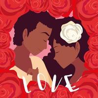 junges Paar in Liebe Poster mit Rahmen aus Rosen vektor