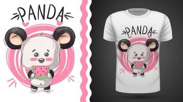 Söt panda, björn - idé för tryckt t-shirt