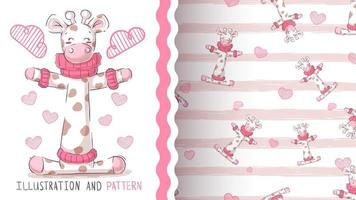 Nette Teddybärgiraffe - nahtloses Muster vektor