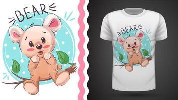 Söt glad nalle - idé för tryckt-shirt