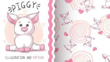 Nettes Teddybärschwein - nahtloses Muster vektor