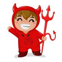 Pojke som bär en röd djävuldräkt