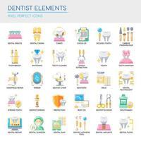 Uppsättning tandläkarelement tunn linje och pixel perfekta ikoner för alla webb- och app-projekt. vektor