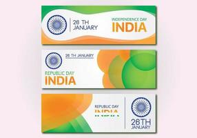 Bannersamling färgglad flagga för Indiens självständighetsdag