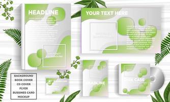 Grüner abstrakter Designfahnen-Netzschablonensatz